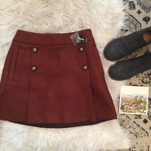 New Express Button Front Skirt Rust Red Size 2